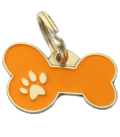 BONE MJAVHOV ORANGE - pet ID tag, dog ID tags, pet tags, personalized pet tags MjavHov - engraved pet tags online